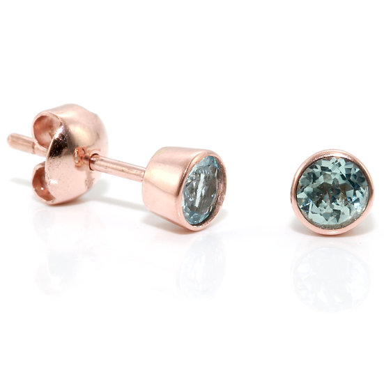 Round Rose Gold Aquamarine Studs