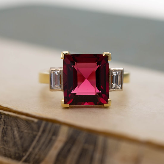 Red Spinel Solitaire and Diamond Ring