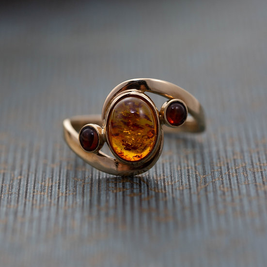 Amber Three Stone Ring