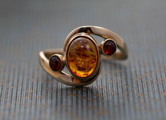 Amber Three Stone Ring