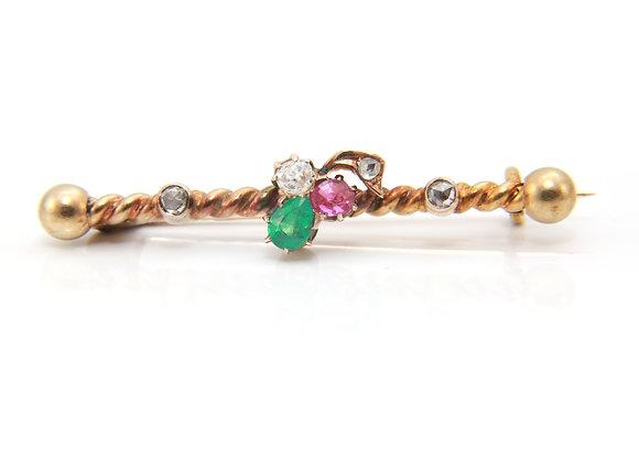 Emerald, Ruby, Diamond Trefoil Brooch