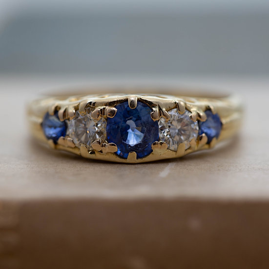Sapphire and Diamond Five Stone Ring