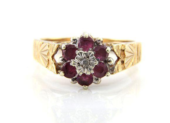 Ruby and Diamond Daisy Cluster Ring