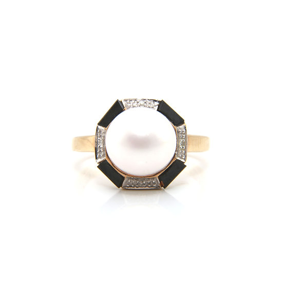 Onyx, Diamond and Pearl Ring