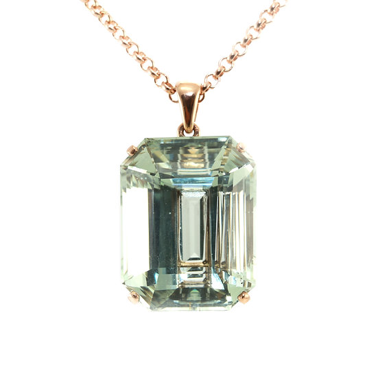 Aquamarine Rose Gold Pendant