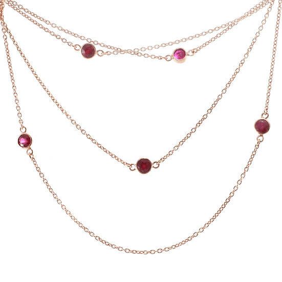Rose Gold 'Ruby By The Yard' Necklace
