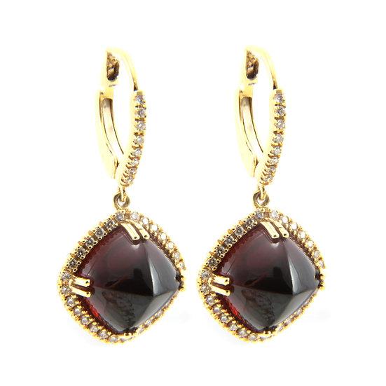 Garnet and Diamond Drop Earrings