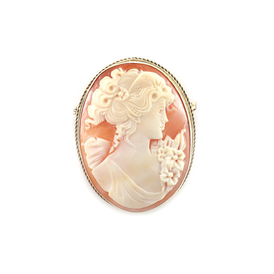 Large Gold Cameo Brooch