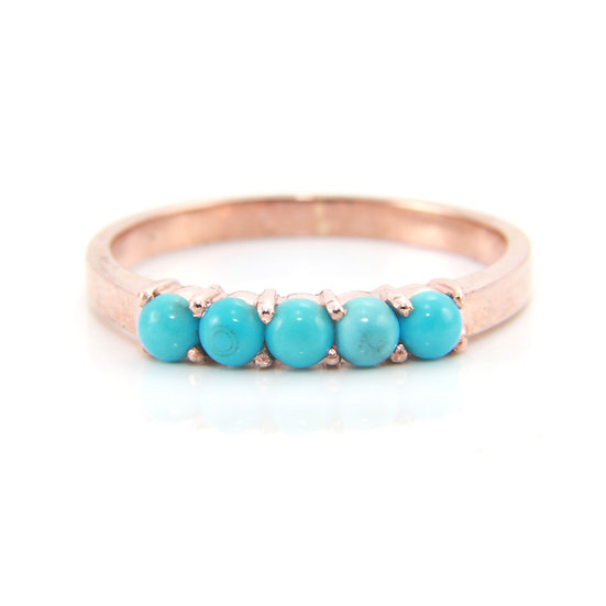 Rose Gold Turquoise Half Band Ring