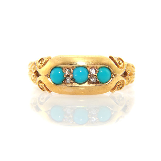 Victorian Turquoise Gold Gypsy Ring