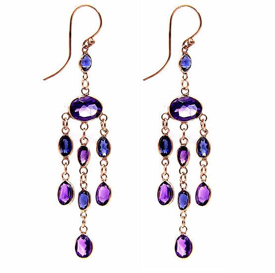 Iolite & Amethyst Cluster Drop Earrings