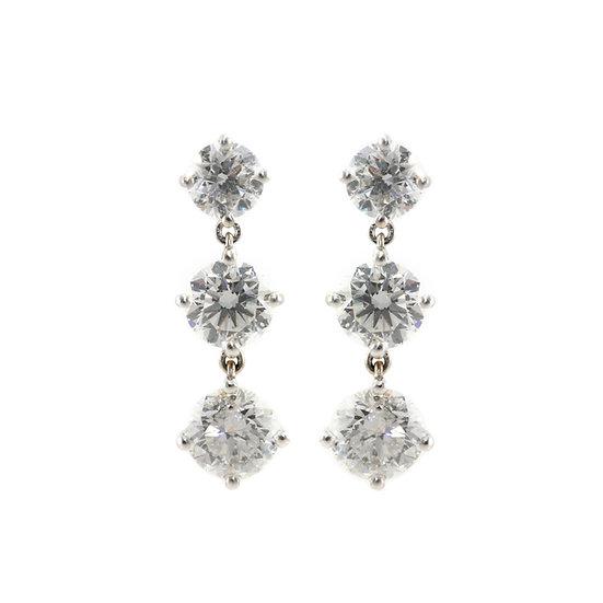 Brilliant Cut Diamond Triple Drop Earrings
