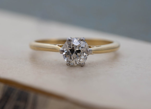 Old Cushion Cut Diamond Solitaire Ring