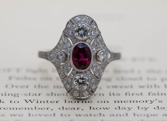 Deco Style Ruby and Diamond Cluster Ring