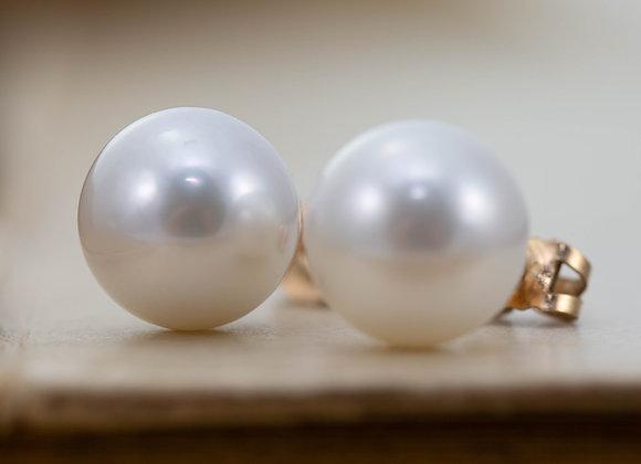 Large White Pearl Stud Earrings