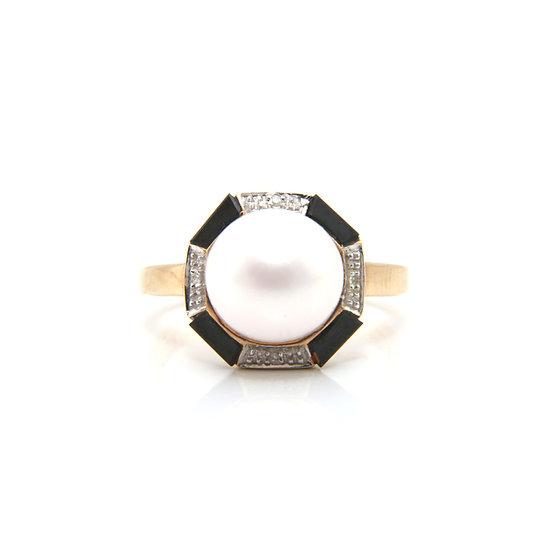 Art Deco Style Onyx Diamond Pearl Ring