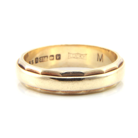 Gold Wedding Band with Faceted Edges