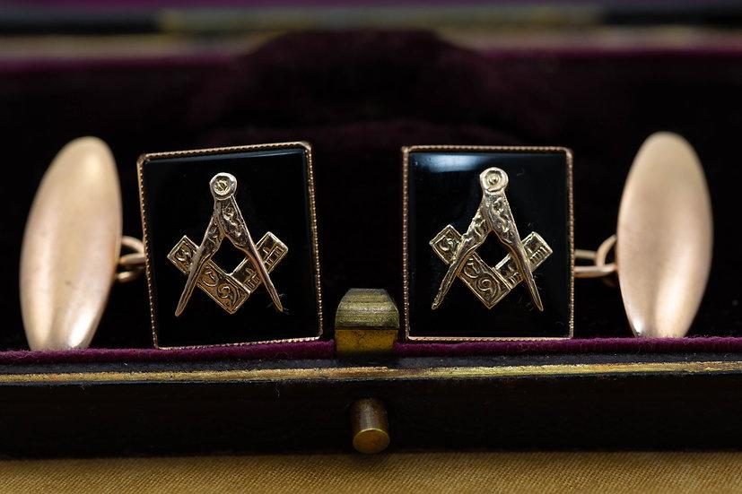 Onyx Masonic Cufflinks