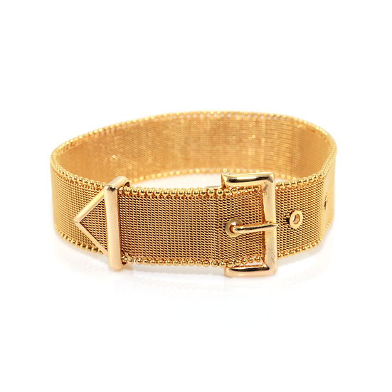 Gold Mesh Belt Buckle Bracelet