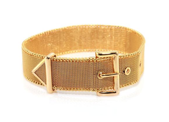 Gold Mesh Belt Buckle Bracelet