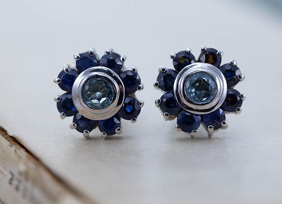 Aqua and Sapphire cluster studs
