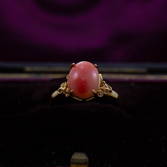 Coral Solitaire Ring