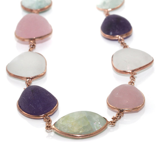 Unpolished Multistone Necklace