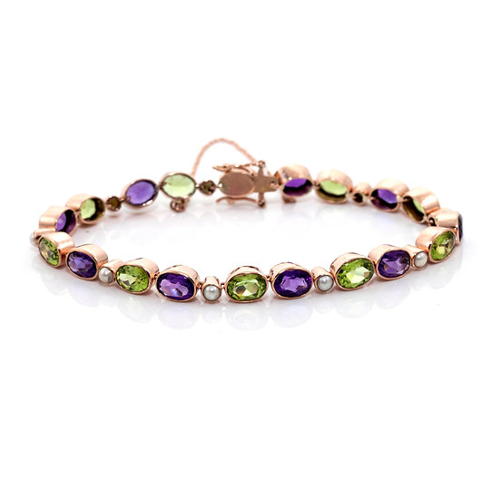 Amethyst, Peridot & Pearl Bracelet