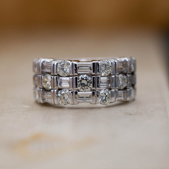 Baguette and Brilliant Cut Diamond Half Eternity Ring