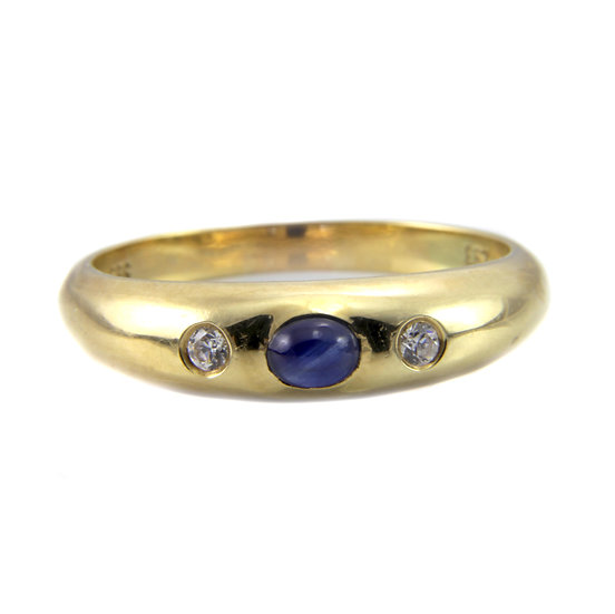 Cabochon Sapphire and Diamond Gold Band Ring