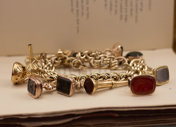 Gold Charm Bracelet and 12 Fob Charms