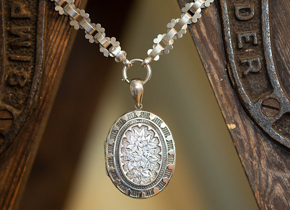 Silver Victorian Oval Locket and Ornate Chain