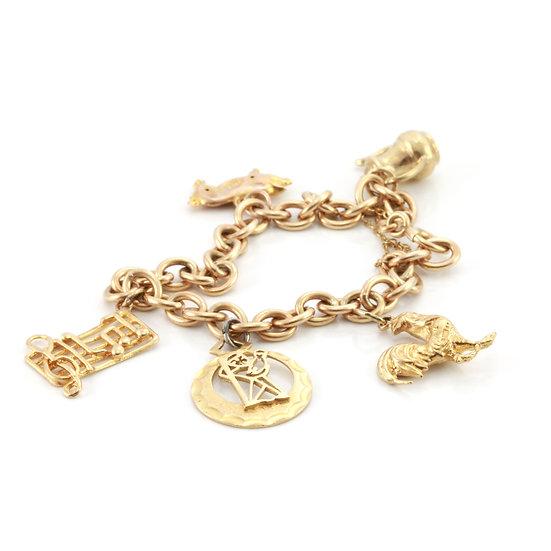 Gold Belcher-Link Charm Bracelet