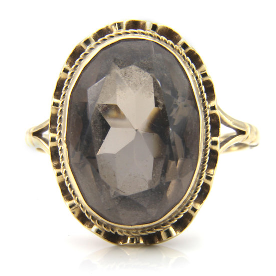 Large Oval Smokey Quartz Ring