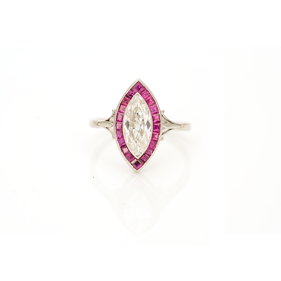 Platinum Deco Marquise Diamond and Ruby Cluster