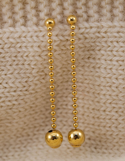 Gold Stud and Long Drop Earrings