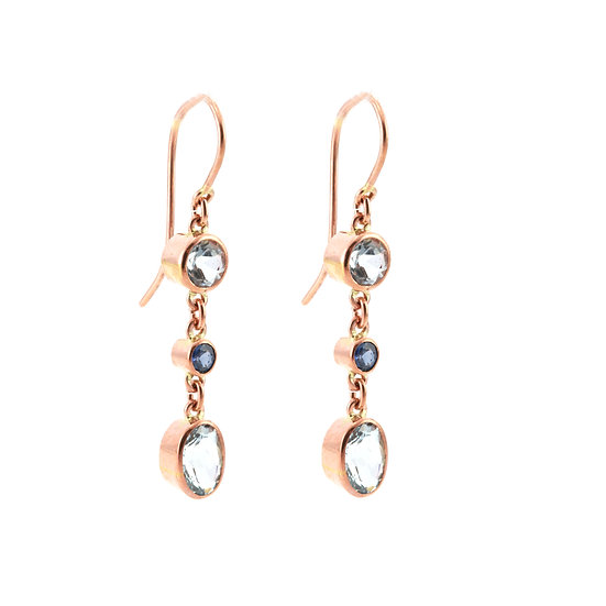 Aquamarine & Sapphire Drop Earrings