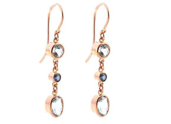 Aquamarine & Sapphire Drop Earrings