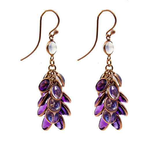 Amethyst & Moonstone Grapevine Earrings