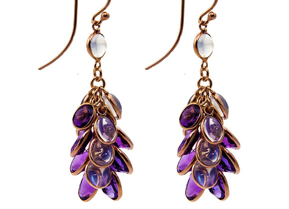 Amethyst & Moonstone Grapevine Earrings