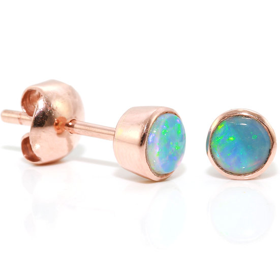 Round Rose Gold Opal Studs