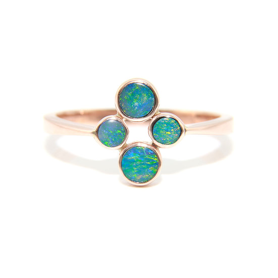 Rose Gold Opal Doublet Cluster Ring