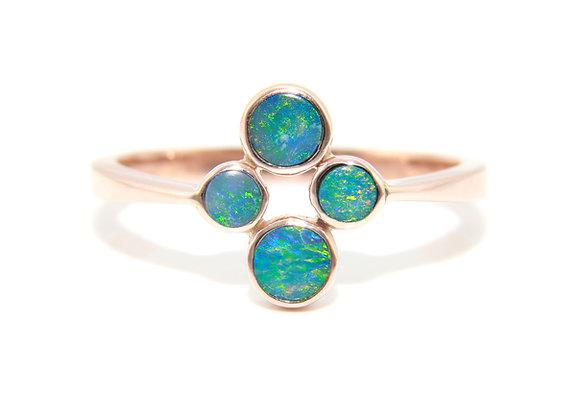 Rose Gold Opal Doublet Cluster Ring