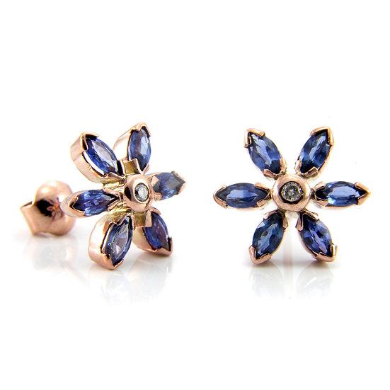 Sapphire & Diamond Cluster Flower Earrings