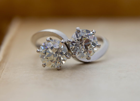 Diamond Two Stone Crossover Ring