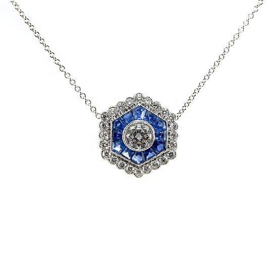 Art Deco Style Diamond Sapphire Pendant