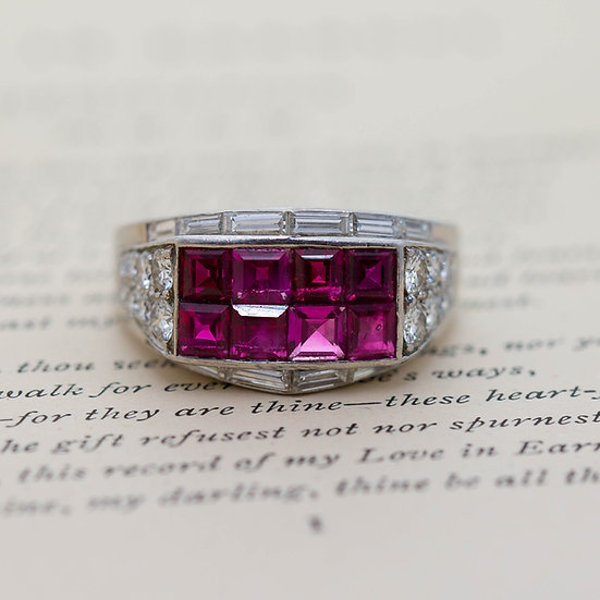 'Retro' Burmese Ruby and Diamond Cluster Ring