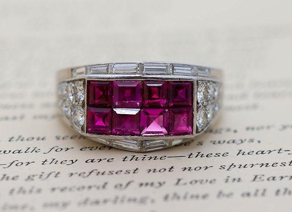 'Retro' Burmese Ruby and Diamond Cluster Ring