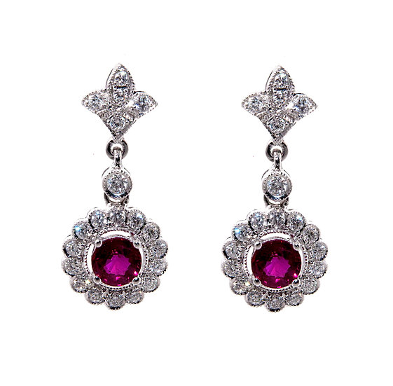 Ruby & Diamond Fleur Des Lis Cluster Drop Earrings