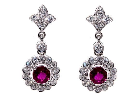 Ruby & Diamond Fleur Des Lis Cluster Drop Earrings